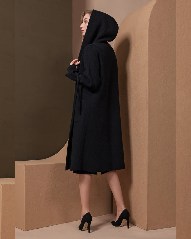 Hooded Cashmere Coat with Ribbon Cuffs
