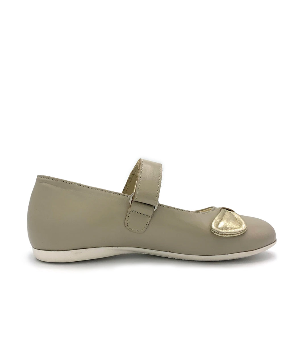 Beige Leather Mary Jane Shoe with Strap