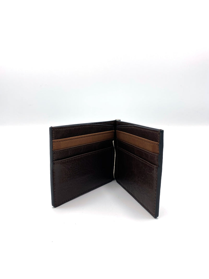 Genuine Leather Dark Brown Wallet with Clip