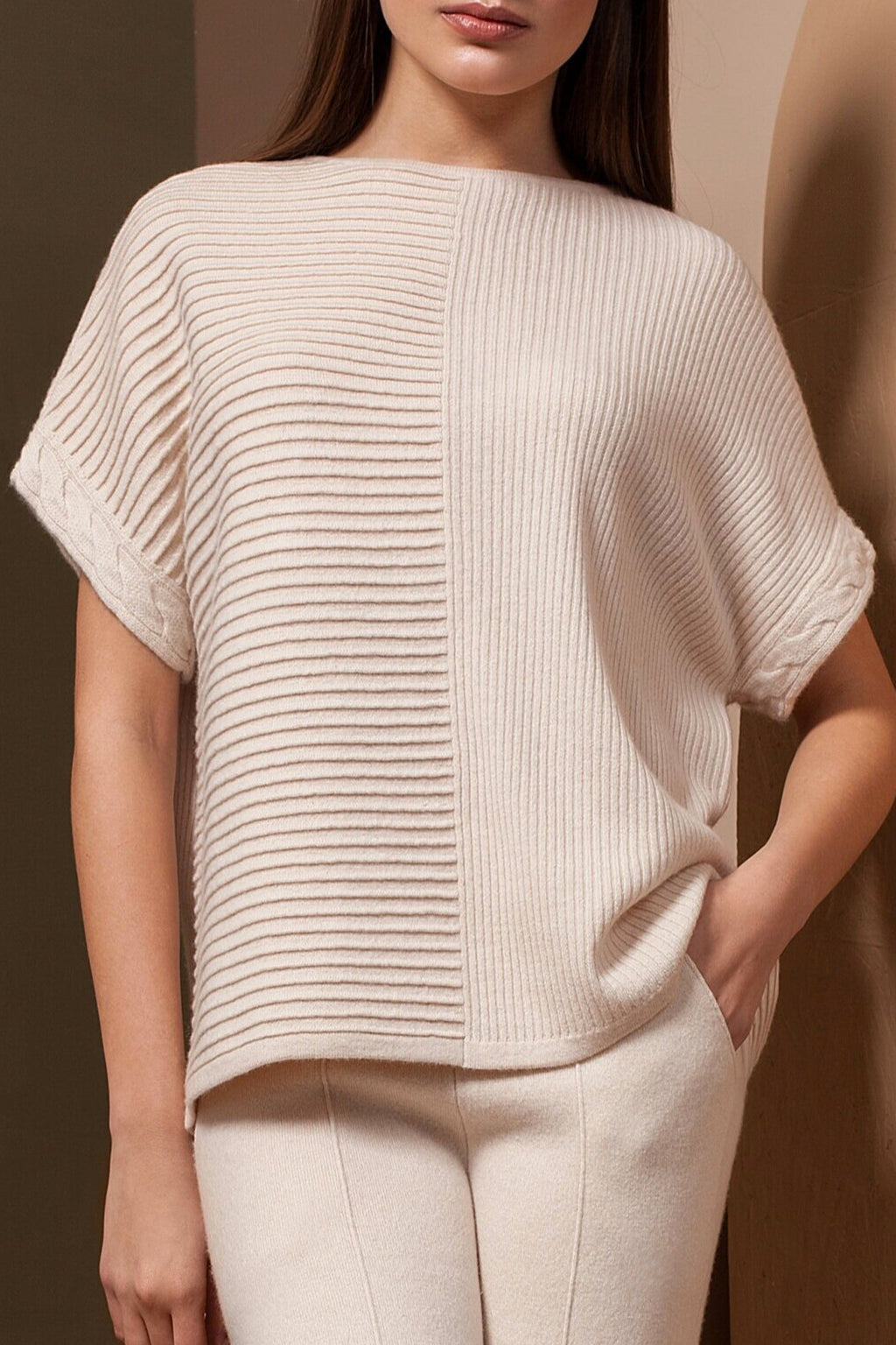 Short Sleeve Pullover Cashmere Shirt