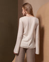 Vneck Cashmere Shirt with Bell Sleeves