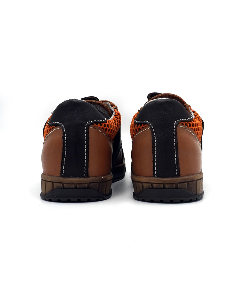 Brown Leather Sneakers with Double-strap for Toddlers