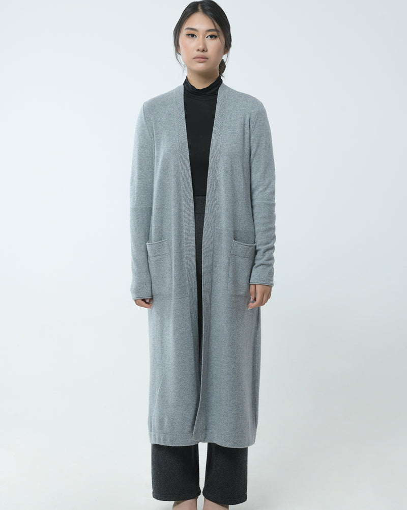 Mixed Knit Long Cashmere Cardigan