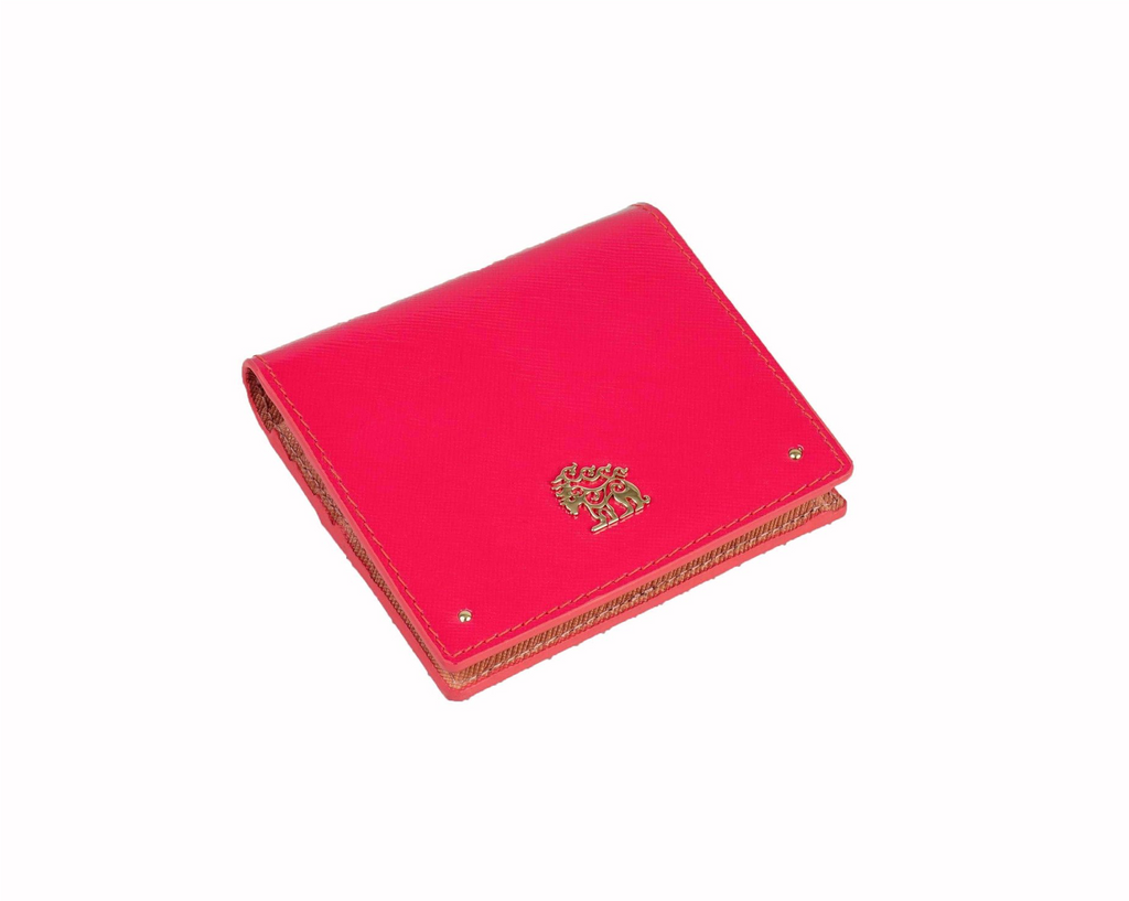 Genuine Leather Small Wallet Hot Pink