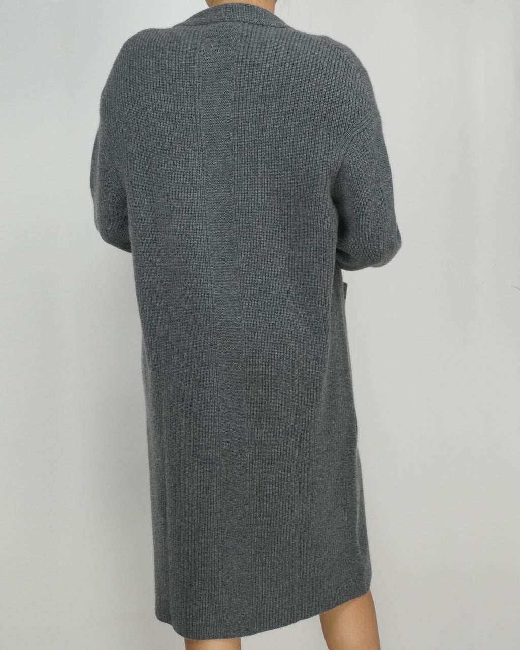 Charcoal Grey Blouson Sleeve Cashmere Cardigan