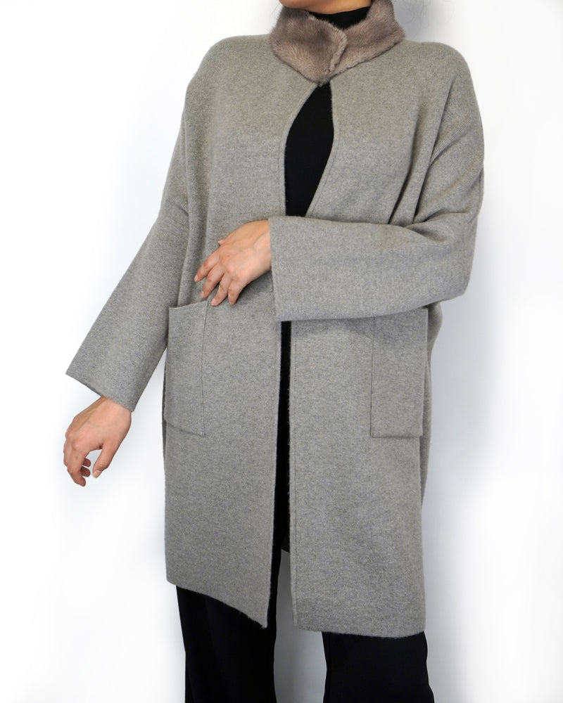 Cashmere Coat with Faux-fur Collar