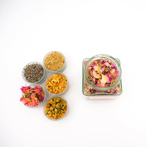 Yoga label, a tea that contains rosa damascena, lemongrass, chamomile, ginger, lavender and liquorice.
