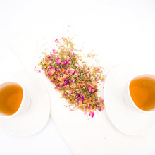 Load image into Gallery viewer, Yoga label, a tea that contains rosa damascena, lemongrass, chamomile, ginger, lavender and liquorice.