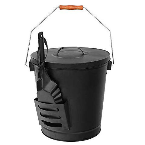 Ash Bucket with Lid and Shovel Galvanized Iron Ash Pail for Fireplac