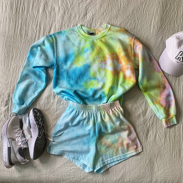 Customizable Crewneck Sweatshirt & Shorts Tie Dye Set