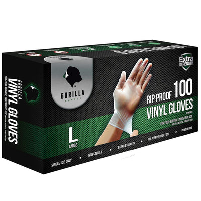 100 Vinyl Gloves Large L 100, Powder Free Extra Strong