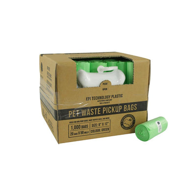 Gorilla Supply 1000 Green Dog EPI Pet Poop Bags, 50 Refill Rolls with Dispenser