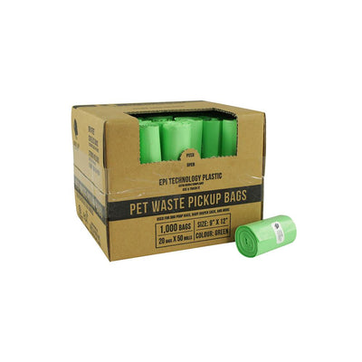Gorilla Supply Dog Waste Bags, Green, Unscented, EPI Additive (meets ASTM D6954-04 Tier 1), 1000 Count