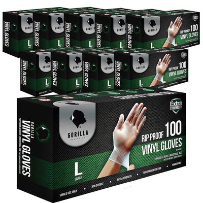 1000 Vinyl Gloves Large L 10 of 100 Carton, Powder Free Extra Strong
