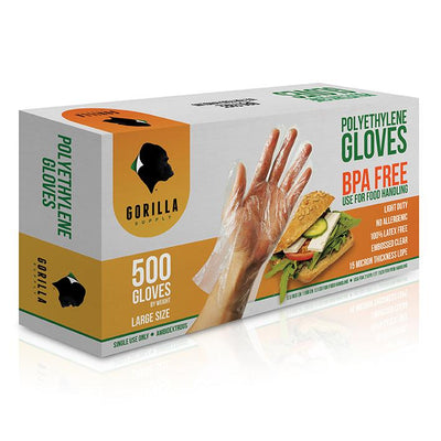CASE 20 of 500 Poly Disposable Kitchen Gloves Large,  BPA Free, Food Grade, Large