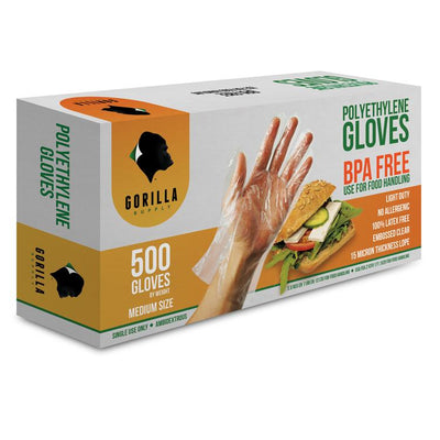 CASE 20 of 500 Poly Disposable Kitchen Gloves Medium,  BPA Free, Food Grade, Medium