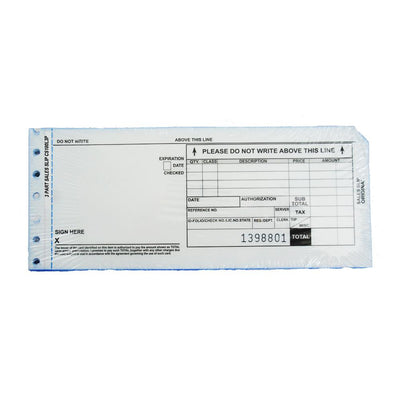3 Part Long Credit Card Imprinter Sales Slips, Pack of 100