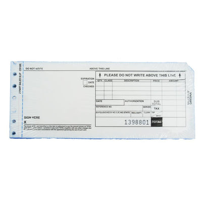 2 Part Long Credit Card Imprinter Sales Slips, Pack of 100