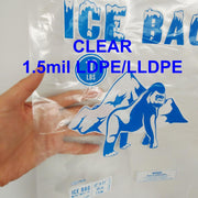 Bagtron 1000 Ice Bags 10LBS 12 x 21 BPA Free, LLDPE, Clear with Twist Tie