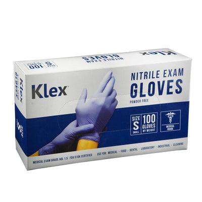 Klex Nitrile Exam Gloves - Medical Grade, Powder Free, Latex Rubber Free, Disposable, Food Safe, Lavender S Small