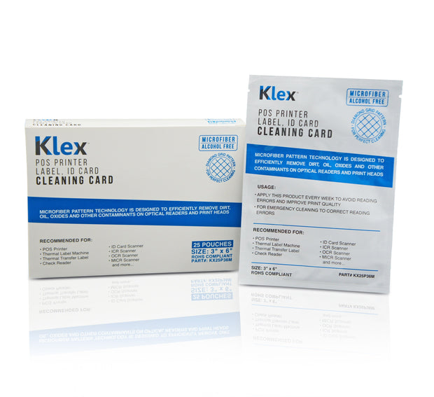 Klex Micorfiber POS Label Thermal Printer Cleaning Card 3 x 6 IPA-Free 25 cards