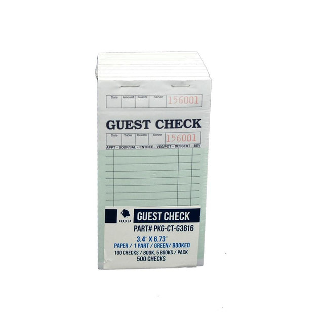 1000 Guest Check PKG-CT-G3616 Single Part Bond, Perforated, Green, 3.4 x 6.73