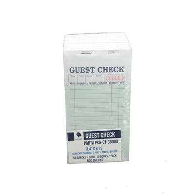 500 Guest Check PKG-CT-G6000 2 Part Carbon, Perforated, Green, 3.4 x 6.73