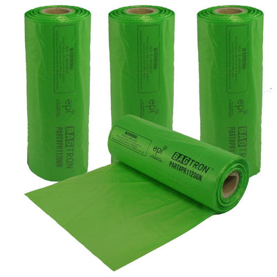Bagtron Produce Bag Rolls, Fruits and Veggies, 11x20, 1656 bag BPA Free, Green, EPI Plastic