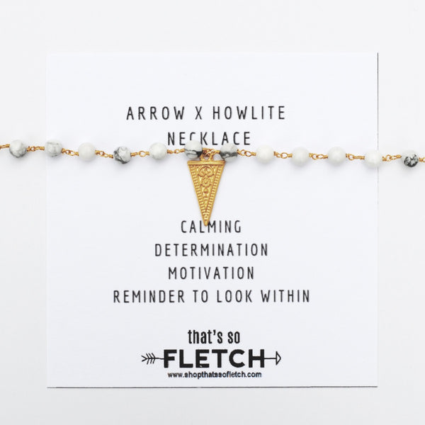 Arrow x Howlite Charm Necklace - calming - determination - motivation - look within