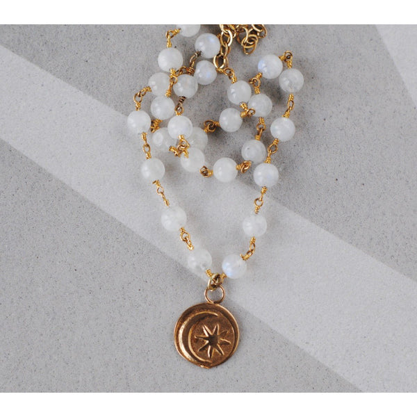 Moonstone Moon Charm Necklace -femininity - intuition - hope