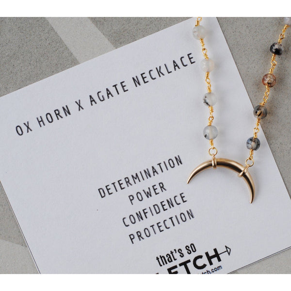 Ox Horn x Agate Charm Necklace - Determination - Power - Confidence - Protection