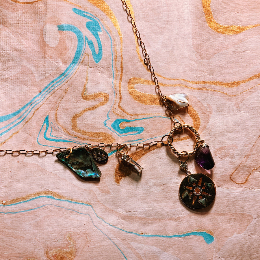 Precious charm chain collection - gold plated coin and Amethyst charm necklace