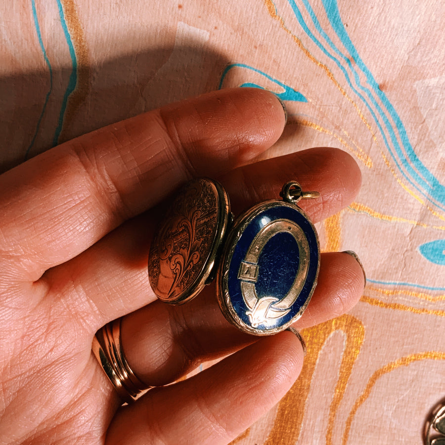 Victorian enamel and 9ct gold buckle locket