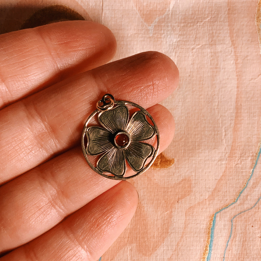 Beautiful Antique 9 carat gold and ruby flower love token pendant