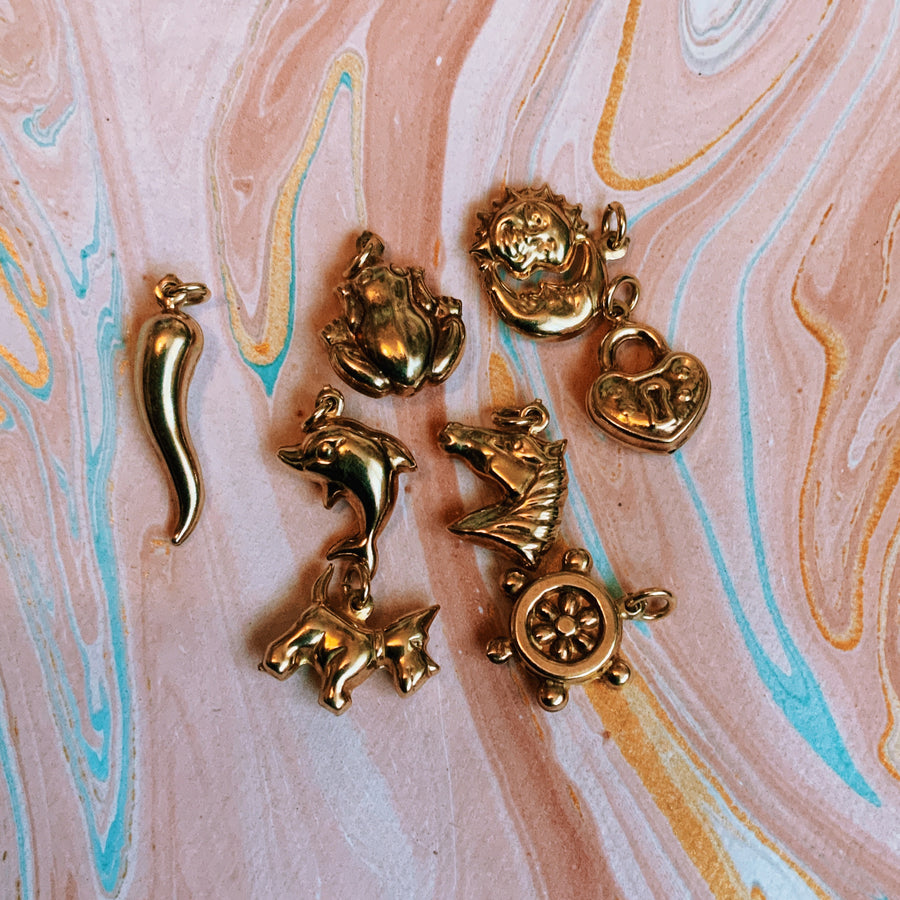 Puffy vintage gold plated horse charm