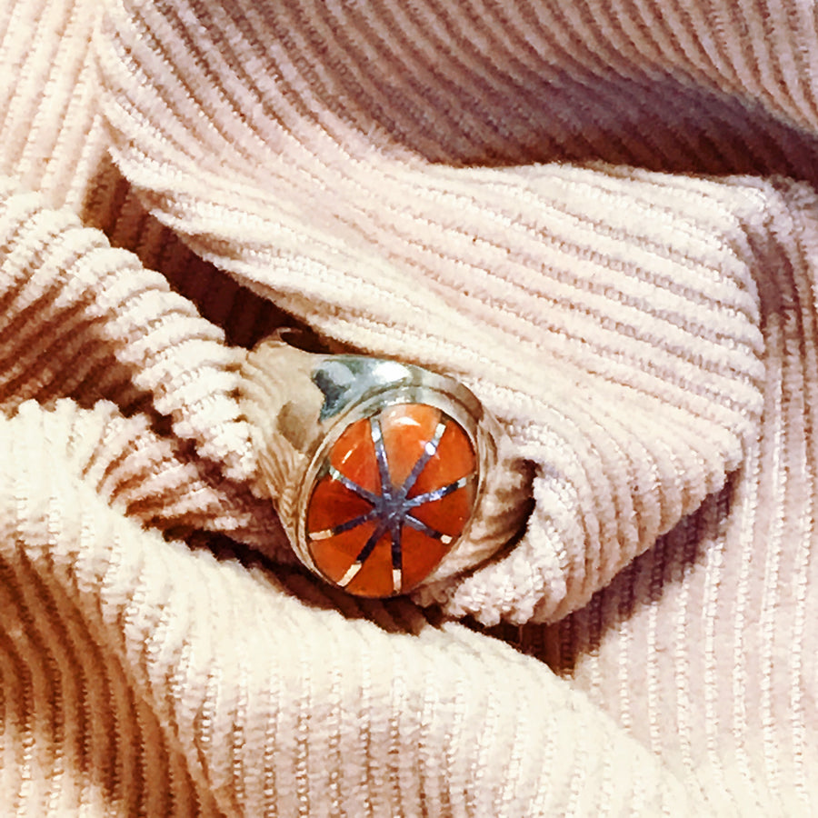 Antique Solid sterling silver and coral sunburst pinkie ring