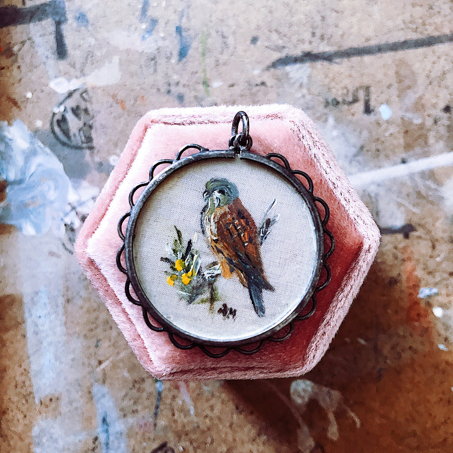 Hand painted sterling silver Victorian Bird necklace