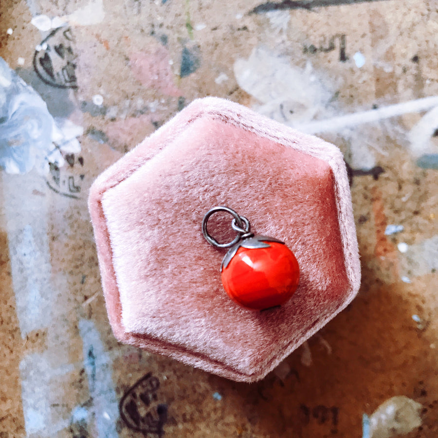 Antique sterling silver red glass pendant