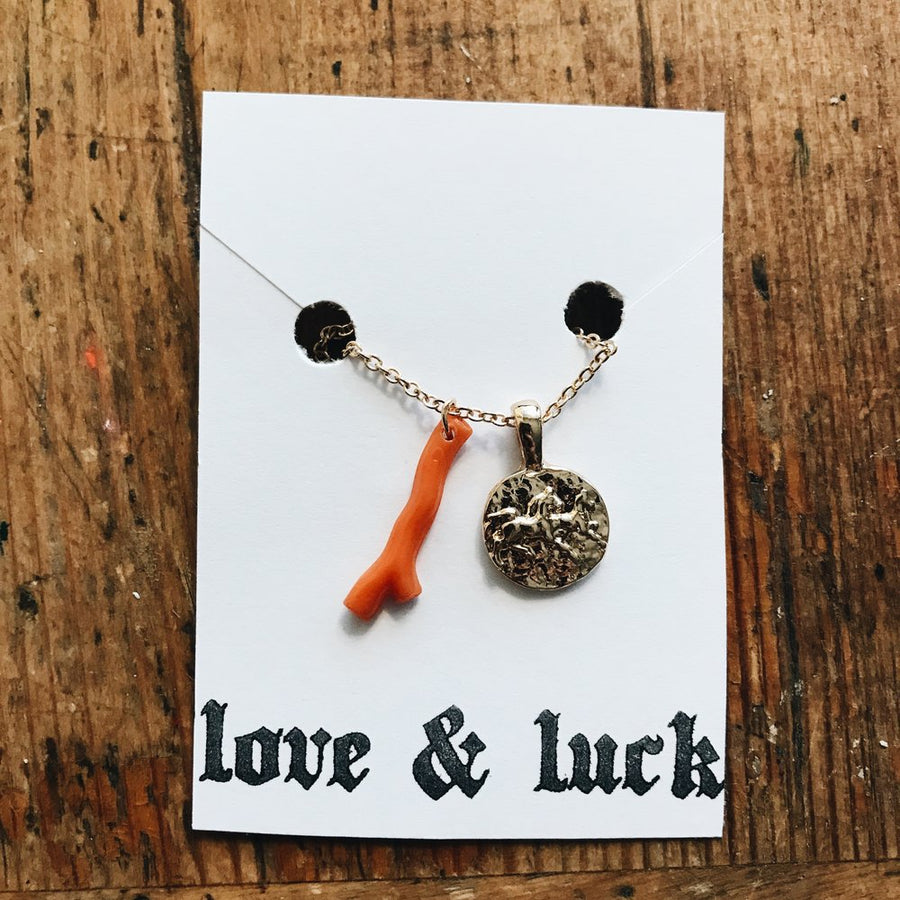 mini horse coin and coral necklace