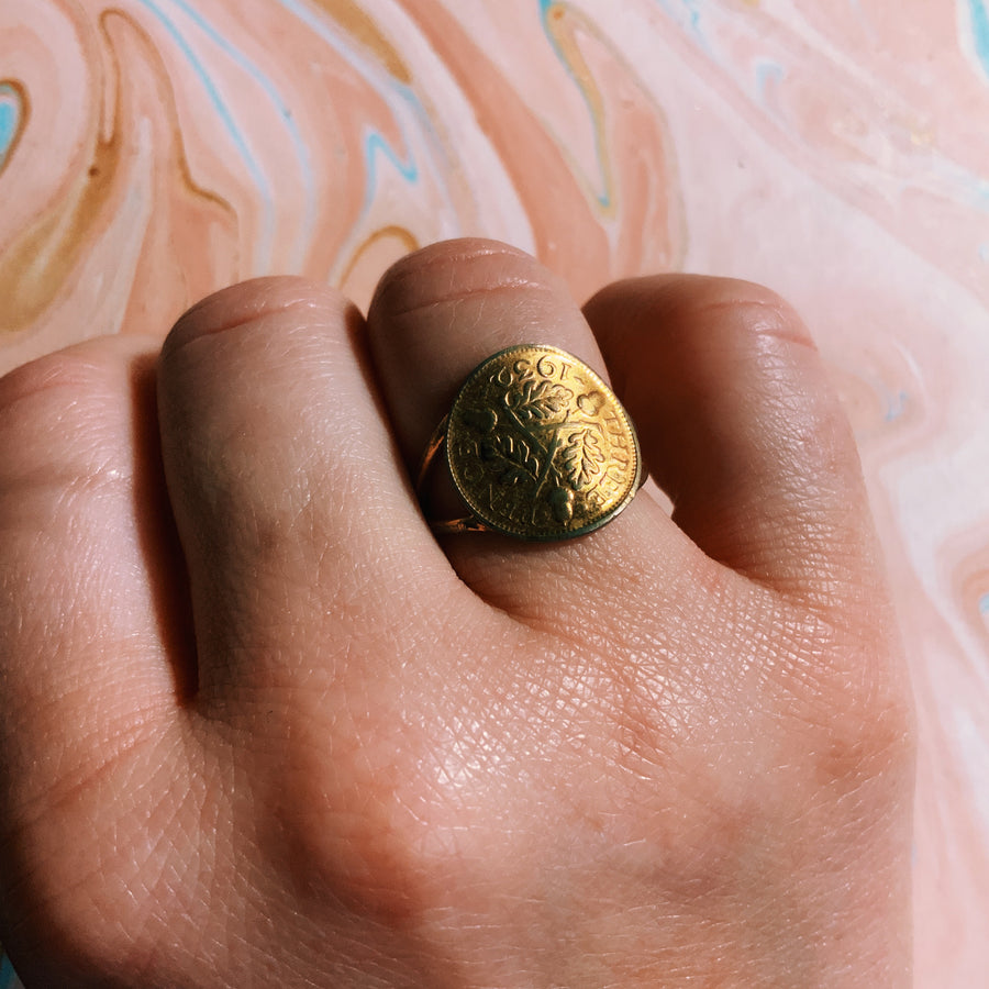 Antique gold tone coin ring