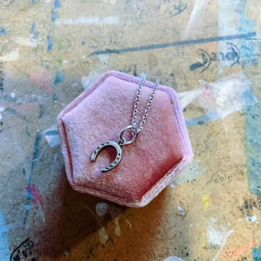Mini sterling silver lucky horse shoe necklace