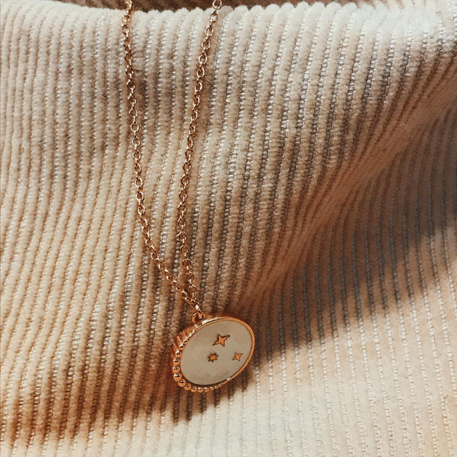 Rose Gold mother of pearl constellation necklace