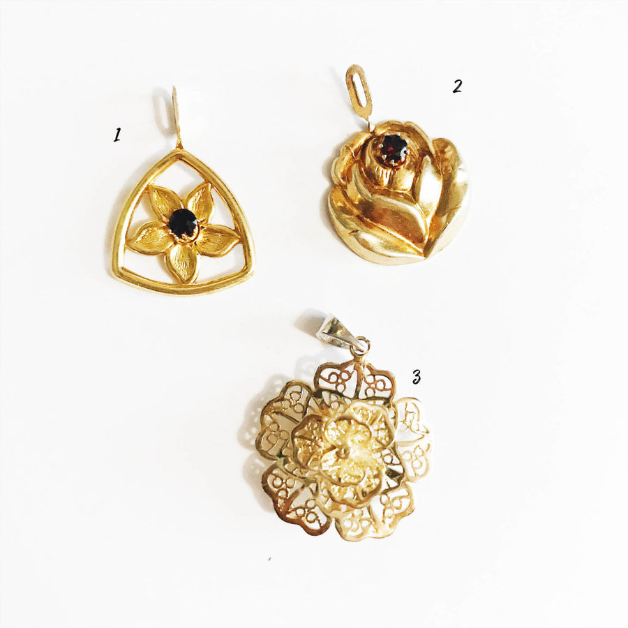 Vintage Rolled Gold floral Pendants