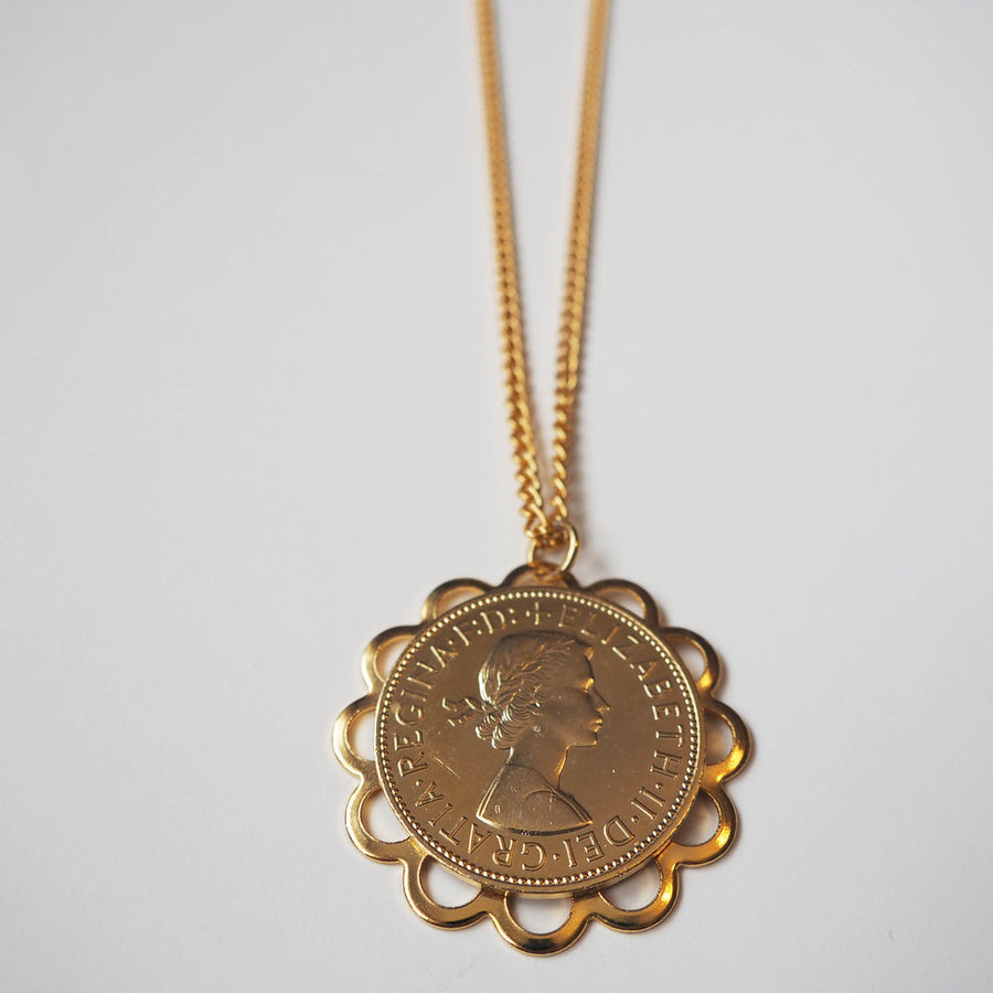Vintage Gold large filagree coin necklace