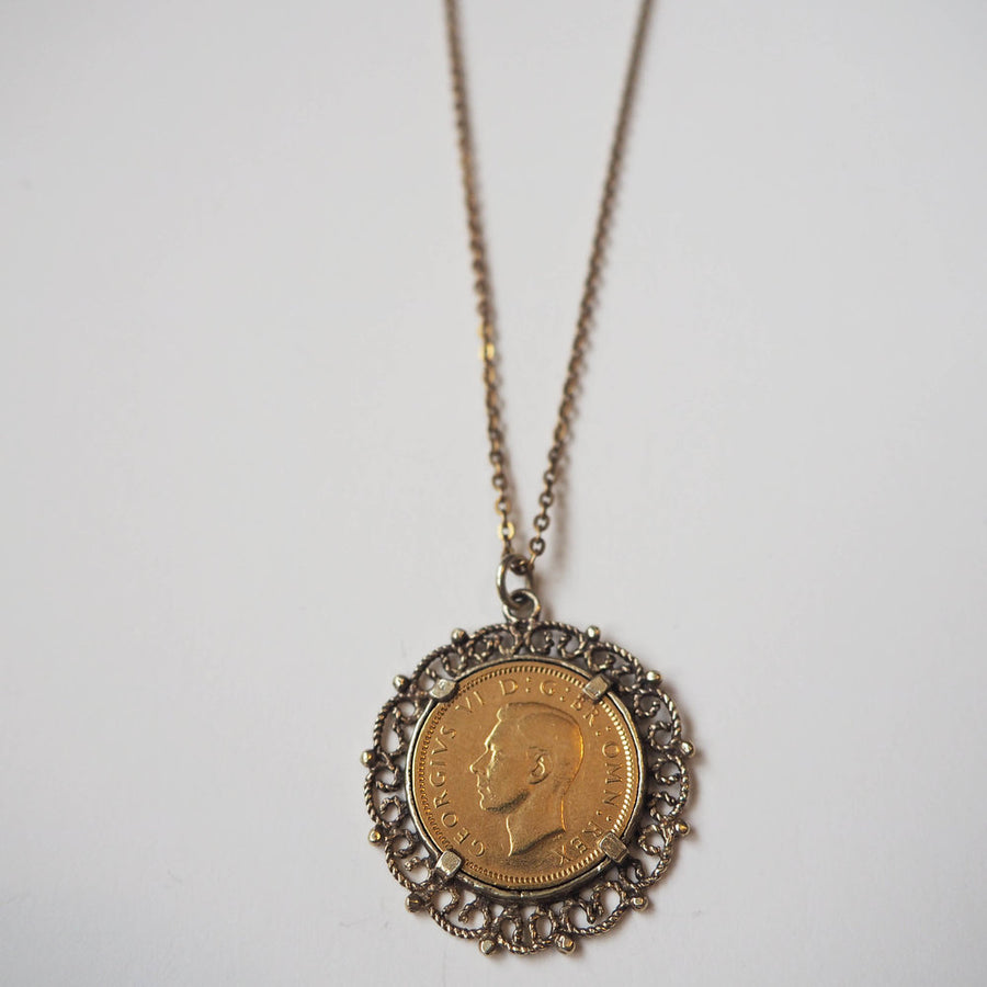 Antique Six penny filagree coin Necklace