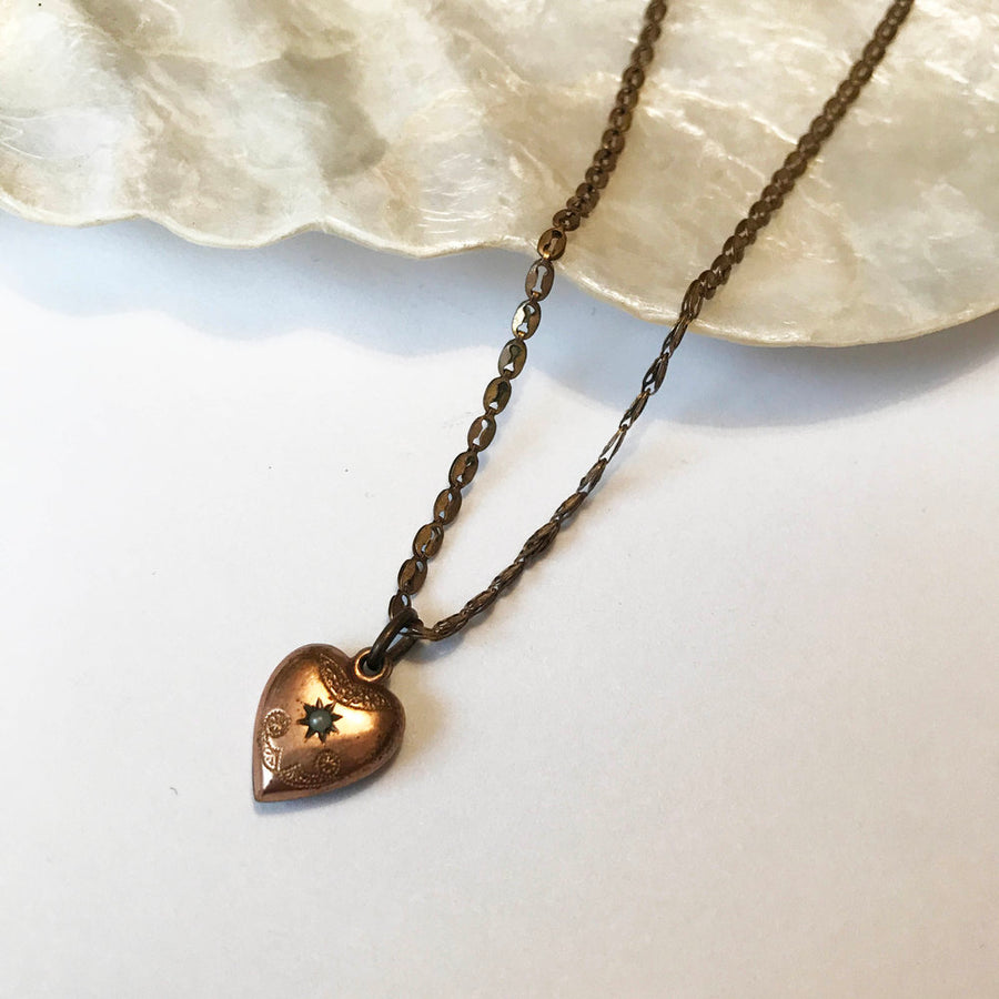 Beautiful Victorian rose gold plated pinchbeck seed pearl Heart necklace