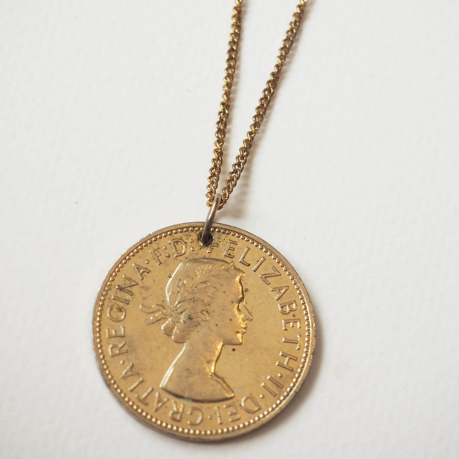 Vintage large gold tone One penny