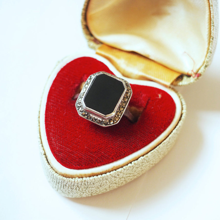 Onyx and Marquisette sterling silver ring