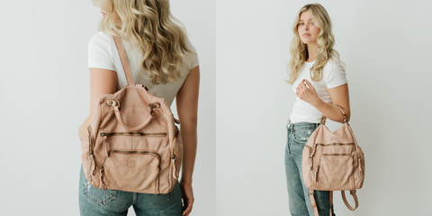 blush powder pink Quest backpack worn on the back and can be worn using the top handle like a tote or handbag
