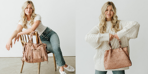 Classic Fringe Hobo in blush pink and Capri woven leather shoulder bag in blush pink